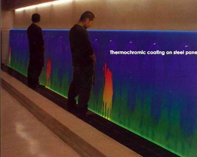 Thermochromic urinal makes peeing fun Temperature sensitive glass