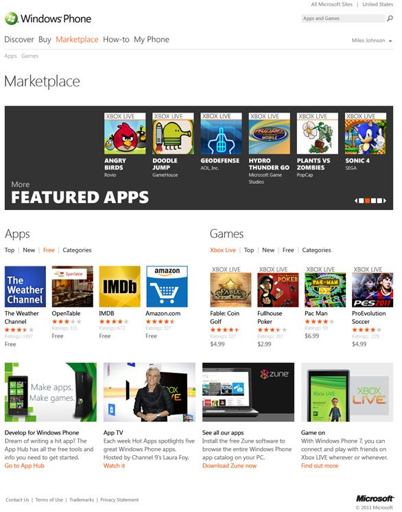 Web based Windows Phone 7 App Store