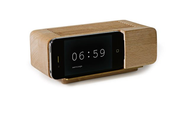 Wooden Retro Alarm Clock iPhone Dock