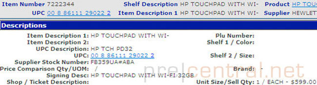 HP TouchPad at Wal-MArt