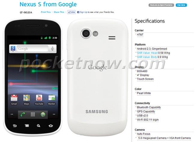 White Nexus S Coming To AT&T