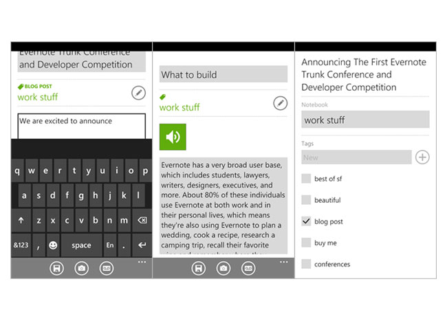 Evernote Windows Phone 7