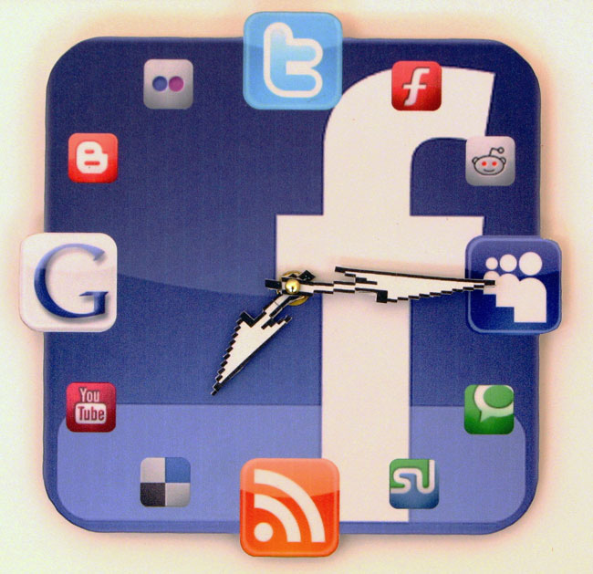 Facebook Icon Wall Clock