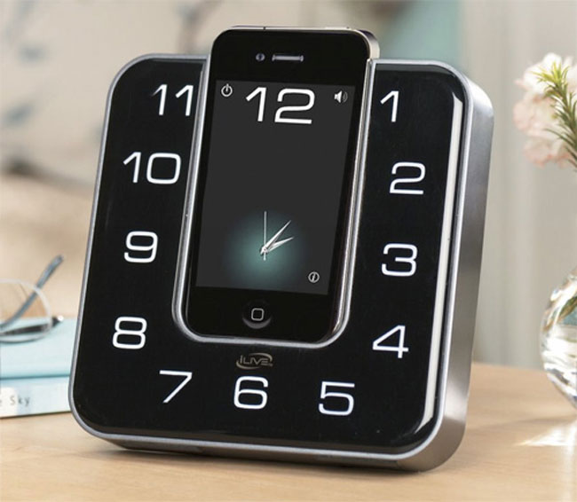 ilive dock disguises your iphone as a clock. Black Bedroom Furniture Sets. Home Design Ideas