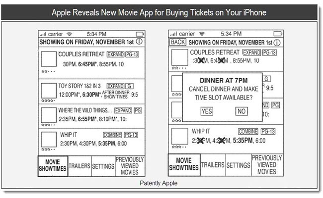 iPhone Movie Ticket App Patent