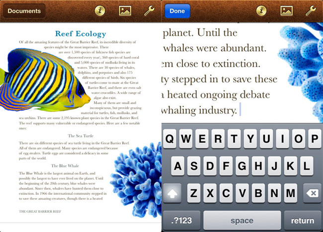 Pages iPhone