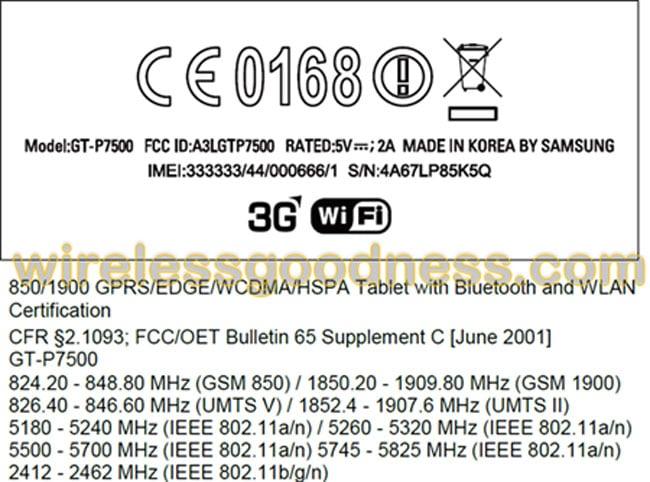 Galaxy Tab 10.1 FCC