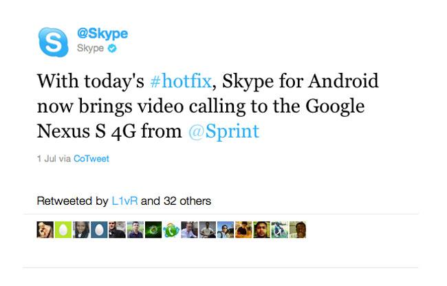 Skype 2 Nexus S 4G