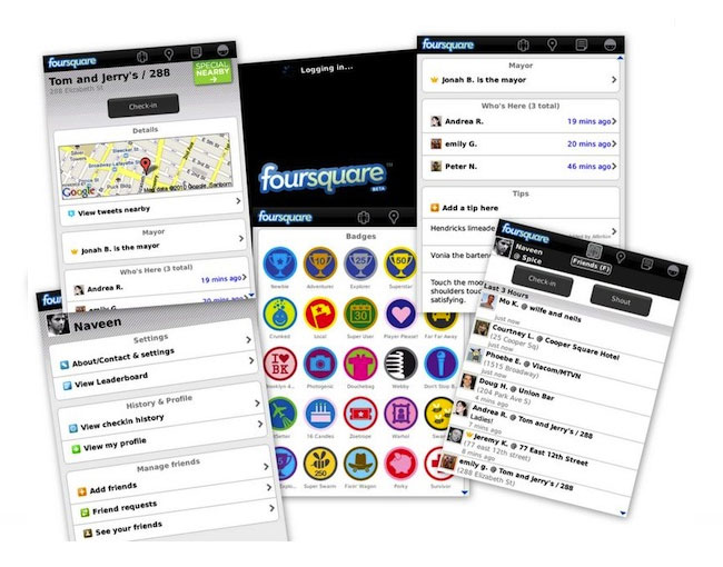 Foursquare notification tray