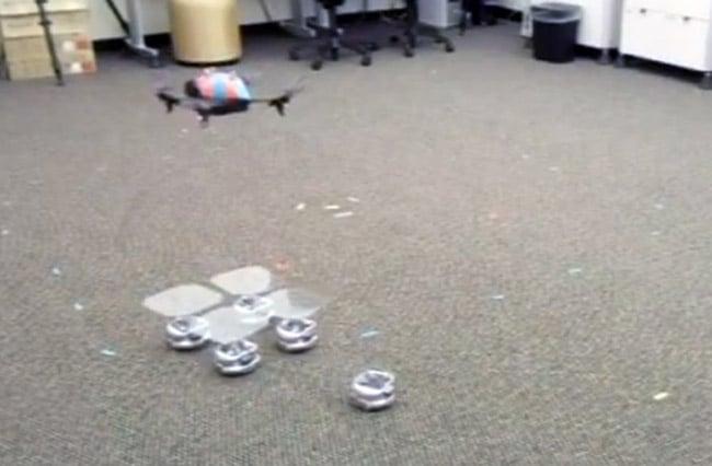 Swarming Robots Form Landing Pad For Quadrocopter