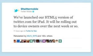 Twitter Launches New HTML 5 Site Optimised For iPads