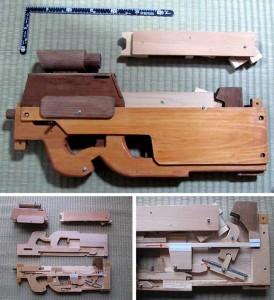 Wooden Rubber Band FN P90 Submachine Gun