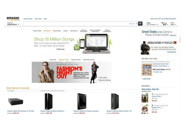Amazon tablet website design