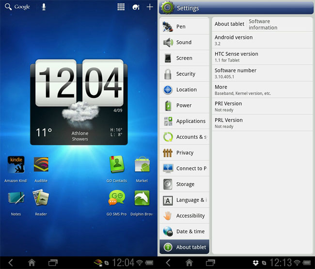 Screenshots Of Android Honeycomb On HTC Flyer