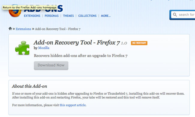 Firefox add-on recovery tool