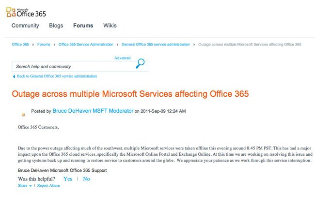 Microsoft Cloud Outage