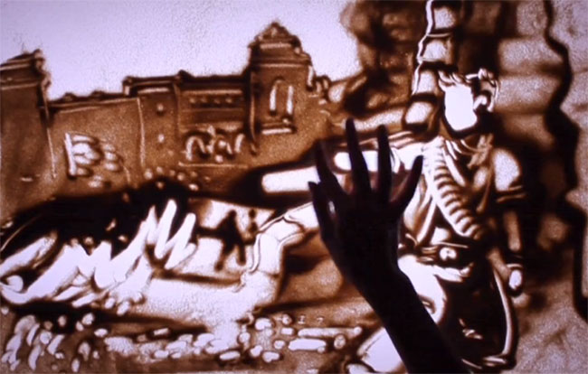 Uncharted 3 Sand Drawings
