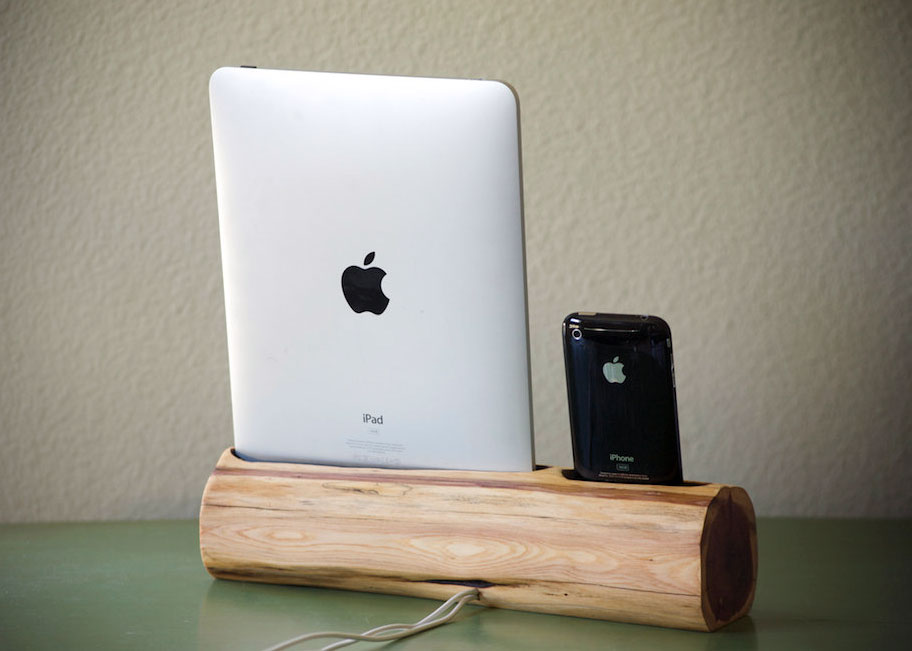 wooden iphone and ipad docking station. Black Bedroom Furniture Sets. Home Design Ideas
