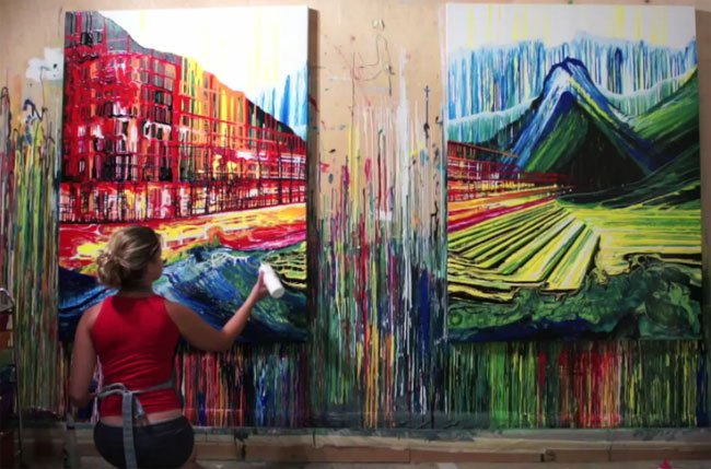 Brushless Artist Creates Amazing Paintings In Time Lapse Video