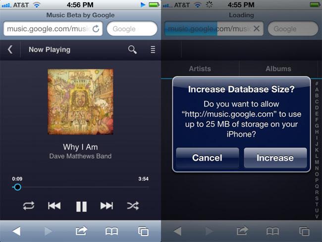 HTML5 Google Music Beta For iOS