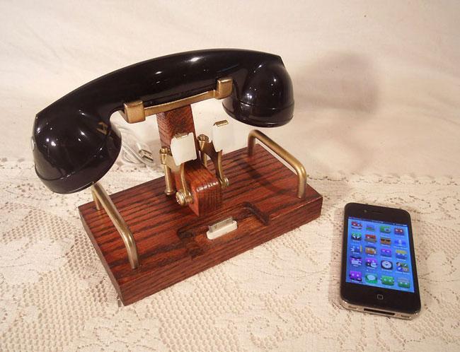 Iphone Dock Features Retro Telephone Bluetooth Headset