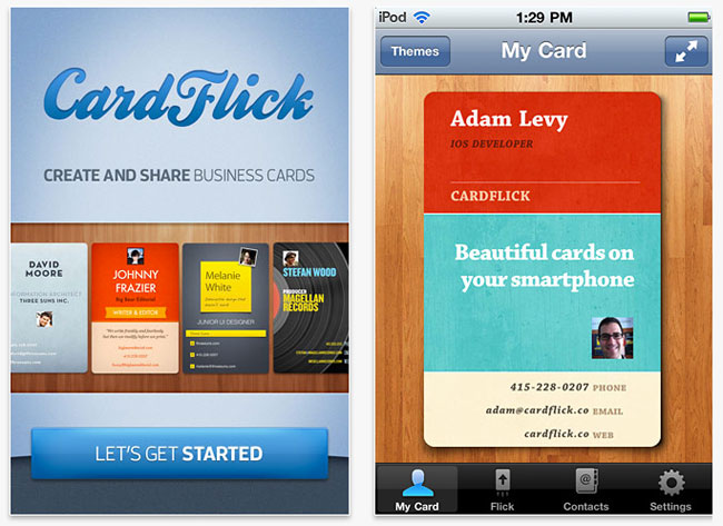 Cardflick sends virtual business cards from your iphone colourmoves