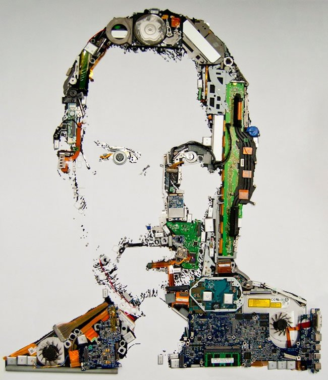 Macbook Parts Used To Create Tribute Portrait Of Steve Jobs