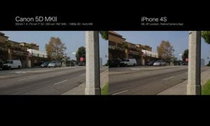 iPhone 4S vs Canon 5D MKII Side-by-side Video Image Comparison (video)