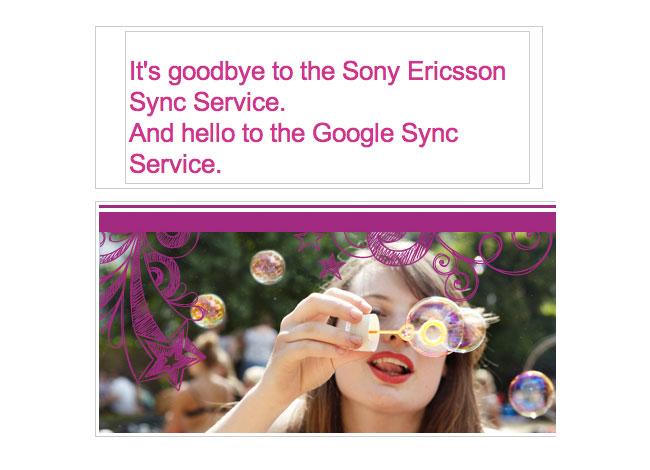 Sony Ericsson Sync service