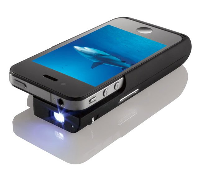 iphone pocket projector case unveiled by texas instruments and brookstone. Black Bedroom Furniture Sets. Home Design Ideas