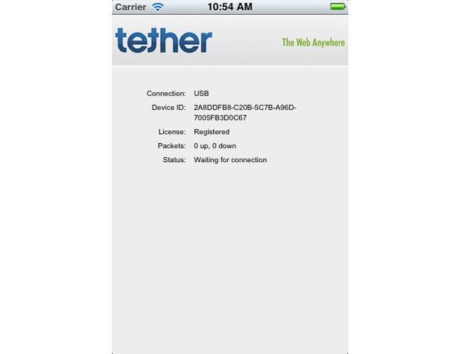 iTether iPhone App