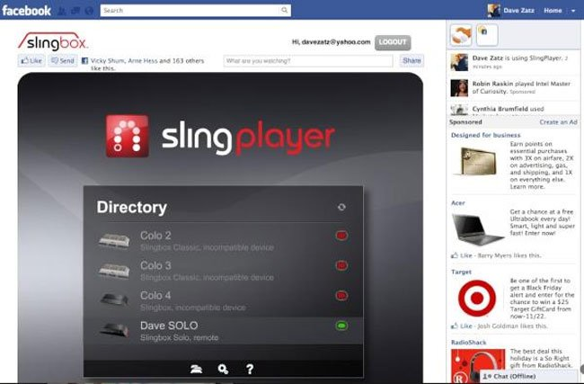 Slingbox for Facebook
