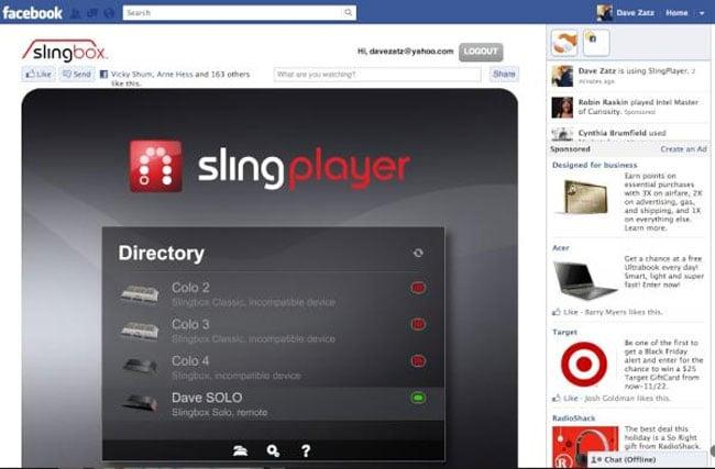 Slingbox for Facebook