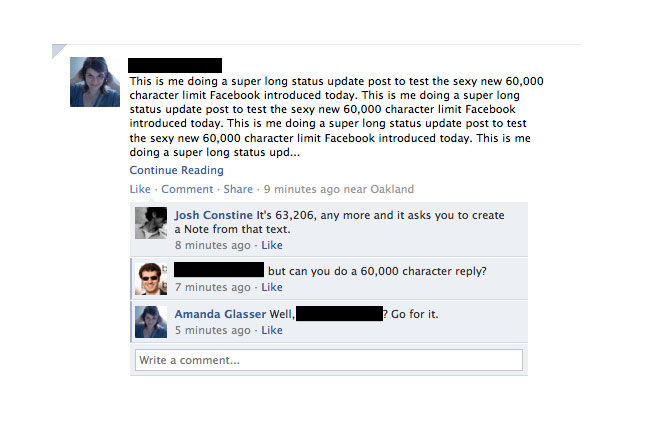 Facebook Status Update, Now Supports Over 60,000 Characters