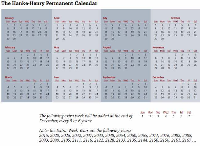 calendar for all years