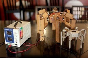 Cardboard Five Legged Hexapod Robot, Takes Its First Steps (video)
