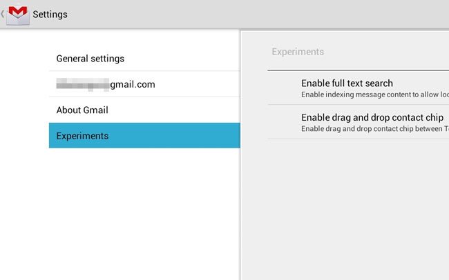 Gmail Experiments Option