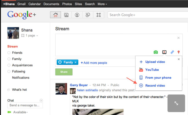 Google Plus Web Camera Recording