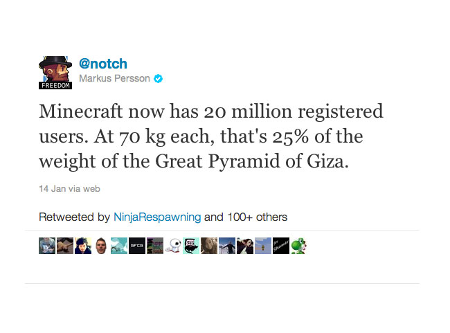 Minecraft 20 million users