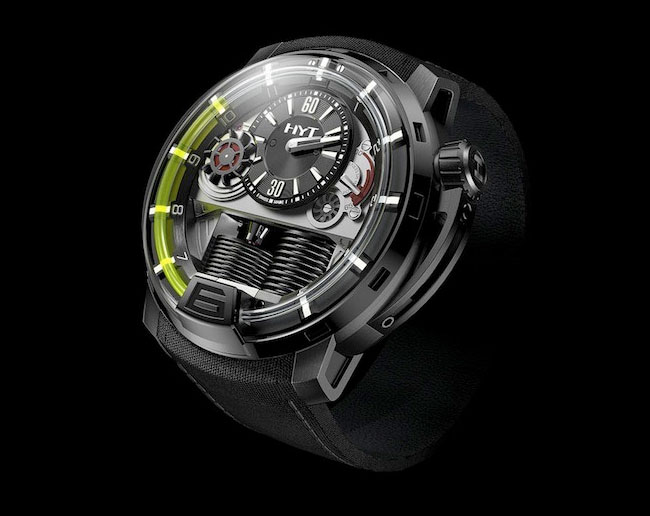 hydromechanical hyt t1 watch combines mechanical and