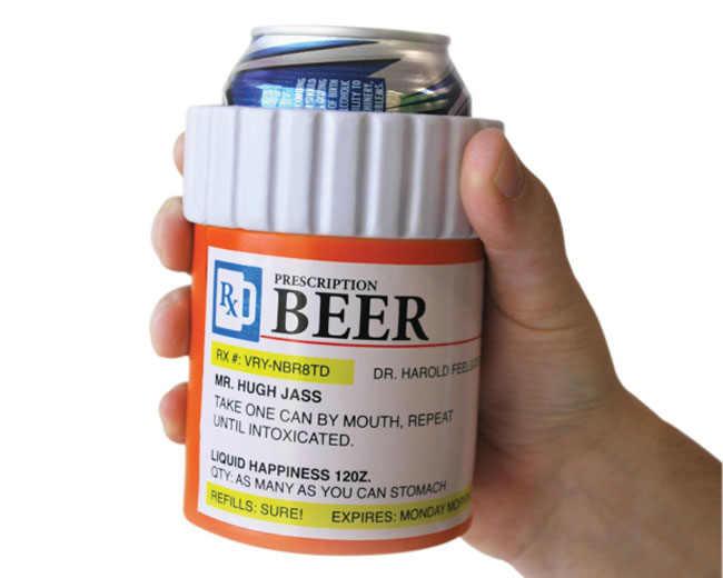 Beer prescription can holder is perfect for the party geek for Prescription bottle holder