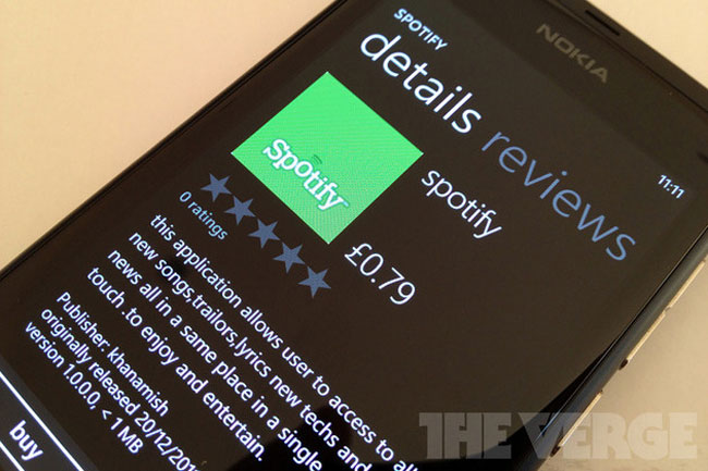 Fake Spotify App Appears In Windows Phone Marketplace