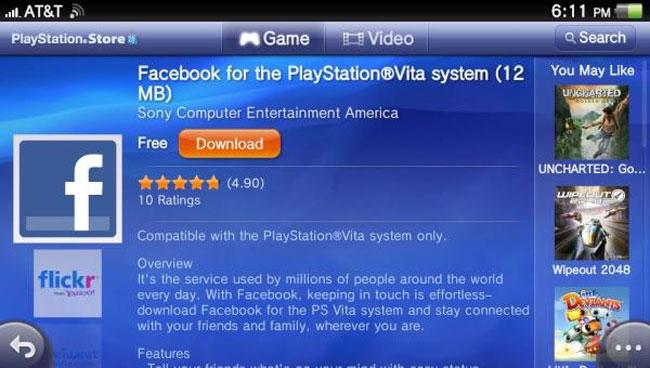 Facebook PS Vita