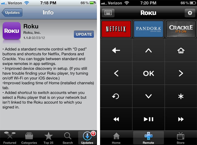 Roku iOS Remote App Updated