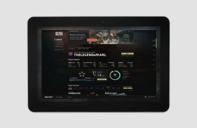Call of Duty Elite Tablet App