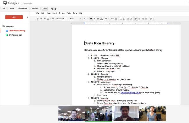 Google Doc Hangouts