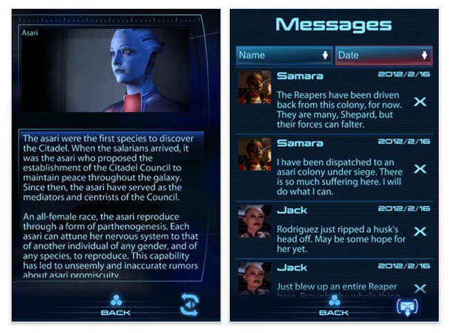 Mass Effect 3 DataPad iOS App