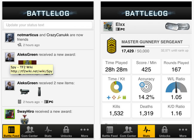Call of Duty Elite BattleLog iOS