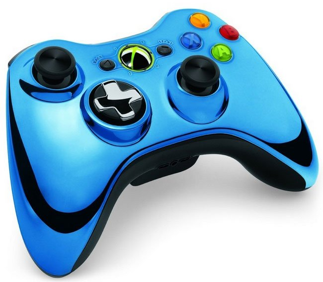 xbox 360 controller blue white and diamond xbox free. Black Bedroom Furniture Sets. Home Design Ideas