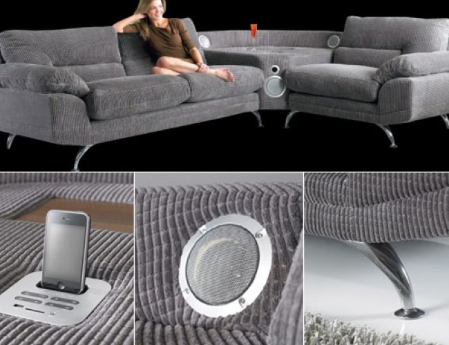 the sound sofa with integrated ipod iphone dock. Black Bedroom Furniture Sets. Home Design Ideas